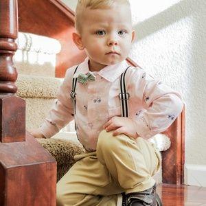 Baby Button Down Onesie, Pants, Suspenders, Bowtie